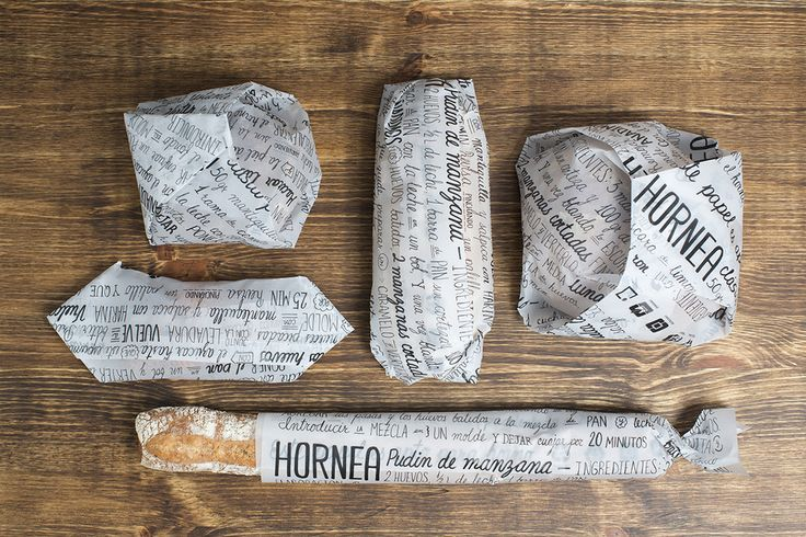 Hornea Bakery by Vania Nedkova, Anna Gené, Cristina Maldonado | HORNEA is a new wrapping system for bread and pastries adaptable to any size. It consists of a parchment-paper roll with recipes printed on it, using only one ecological and recyclable black ink. It's a multifunctional packaging system, because once used as a take away wrapper, it can still be used as baking paper at home. HORNEA aims to be eco-friendly by reducing the environmental impact that current packagings have on our…