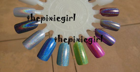 SPECTRAFLAIR HOLOGRAPHIC Top Coat Nail POLISH Lacquer in Suspension Base 5mL Mini Coarse 35-Grade Linear Rainbow on Etsy, $4.50