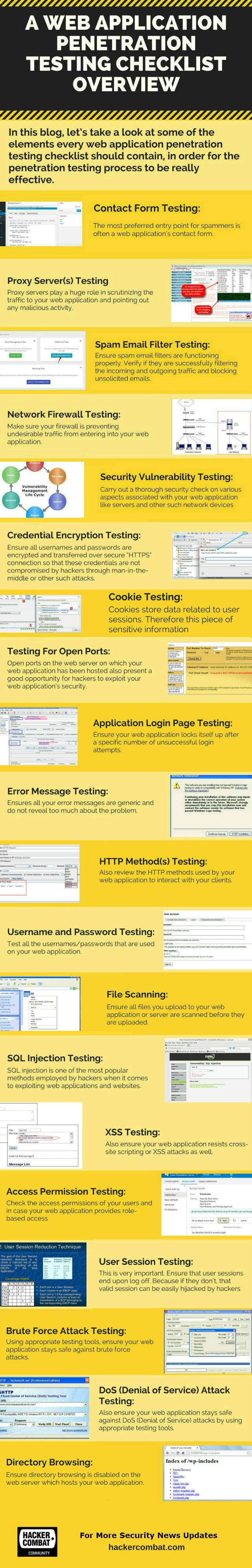 Let's take a look at some of the elements every web application penetration testing checklist should contain, in order for the penetration testing process to be really effective.