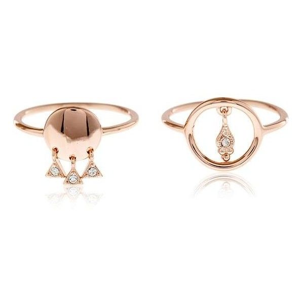 Disco Dangle Ring Duo- Rose Gold ($65) ❤ liked on Polyvore featuring jewelry, rings, red gold jewelry, dangling jewelry, disco jewelry, pink gold ring and swarovski crystal jewelry