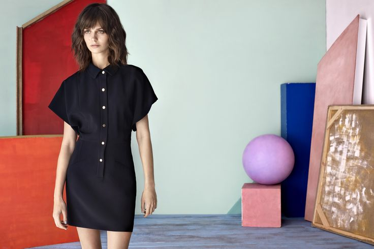 CASUAL BLACK FELINA DRESS WOTH GOLD BUTTONS