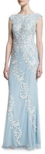 Aidan Mattox Cap-Sleeve Embroidered-Overlay Gown, Mist