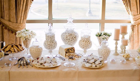 White, Ivory and Gold Wedding Reception Candy and Dessert Buffet. Platters, apothecary jars and candles.