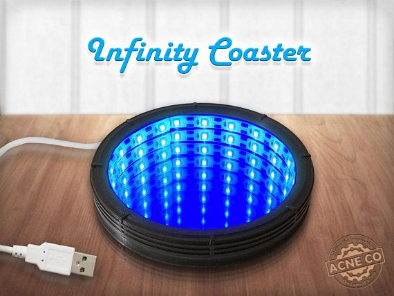Infinity Coaster / USB / Black / Blue LED Lights / Infinity