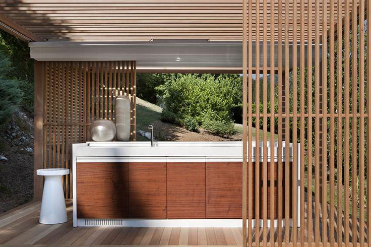 Contemporary kitchen / wooden / Corian® / outdoor - ZEN by Ludovica & Roberto Palomba - EXTETA