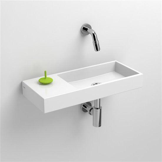 Clou Mini Wash fontein zonder kraangat links zonder plug, wit keramiek