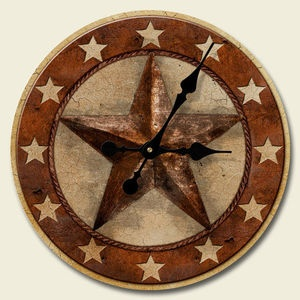 BARN STAR Wood Wall CLOCK, Country or Western Wall Decor, NEW