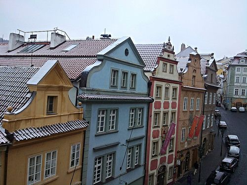 Snow has arrived in Prague