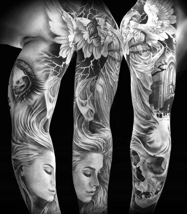 Female Portrait With Doves And Skull Unique Guys Shaded Tattoo Sleeves