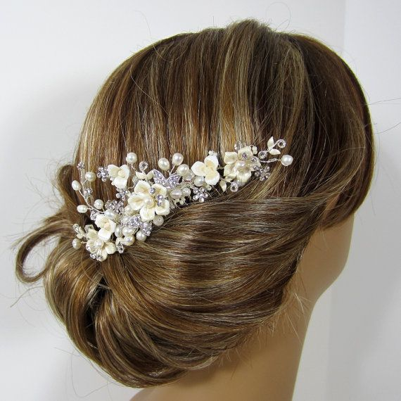 Flower Bridal Comb Porcelain Flower Bridal by adrianasparksacc, $42.00