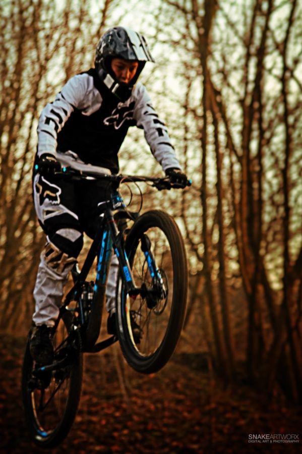 """Lift off"" ©2015 SnakeArtworX - Digital Art & Photography. #photography #sports #downhill #mountainbike #rider #sunset #500px"