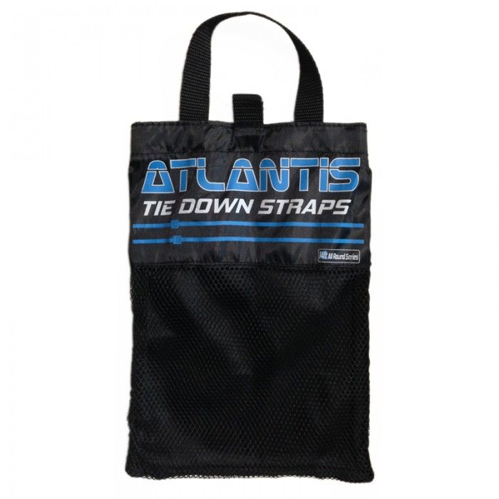 THE SURFBOARD WAREHOUSE ATLANTIS TIE DOWNS $29.95 Atlantis 14ft all round tie downs are designed for cars with roof racks. suitable up to 2 SUPS or 3 shortboards. Easy to attach/remove buckle.