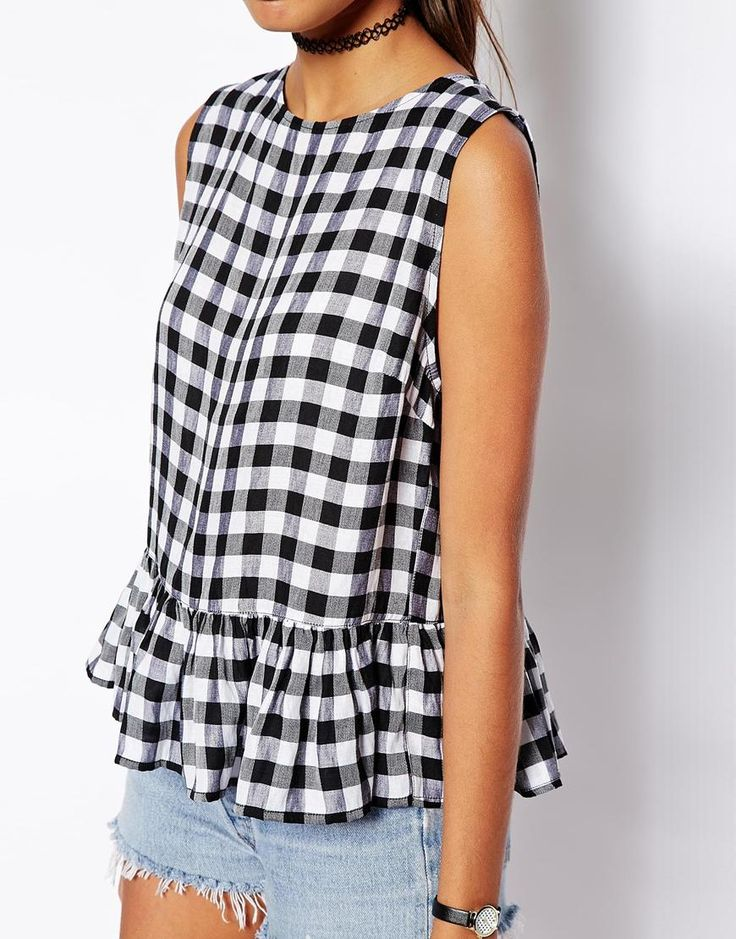 Image 3 of ASOS PETITE Sleeveless Peplum Top In Gingham
