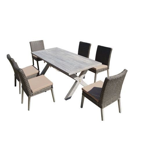 Lindmere Antique Grey Hard Wood/Grey 7 Piece All Weather Wicker Patio Dinning Set With Bei