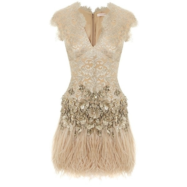 Lacquer Lace Feathered Dress with Belt