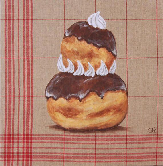 Tableau original gâteau religieuse illustration pâtisserie