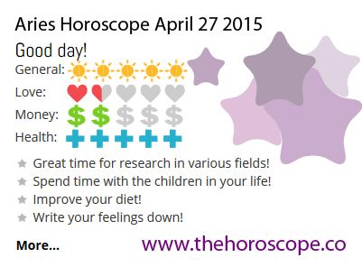 Good day for #Aries on April 27th 2015 #horoscope. Come back every day and see your daily prediction! http://www.thehoroscope.co/Aries-Horoscope-tomorrow.php