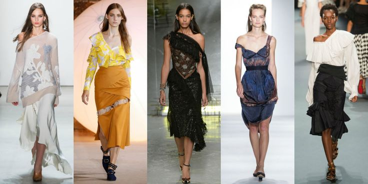 This season if it isn't off the shoulder it isn't right—at least according to some of our favorite designers.  Left to Right: Prabal Gurung, Self-Portrait, Rodarte, Brock Collection, Tome