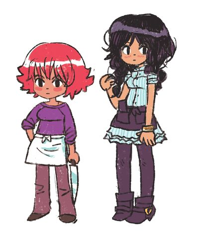 "Katie and Hazel from Bryan Lee O'Malley's ""Sketches""."