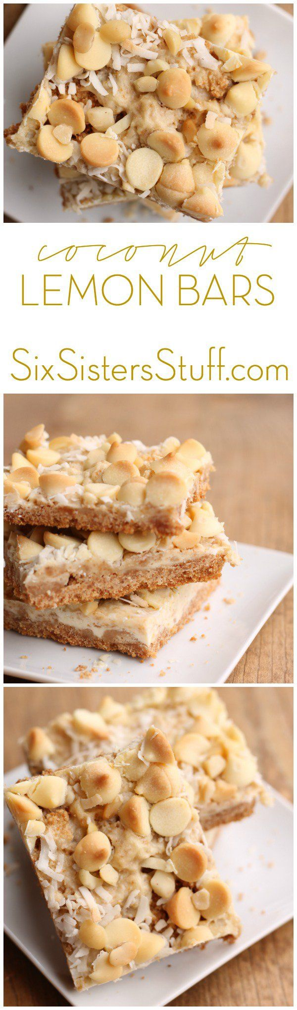 These lemon bars have a little bit of everything, and then some. Their nilla wafer crust and lemony-cheesecake filling is topped off with coconut, white chocolate chips, and macadamia nuts. Coconut Lemon Bars from SixSistersStuff.com