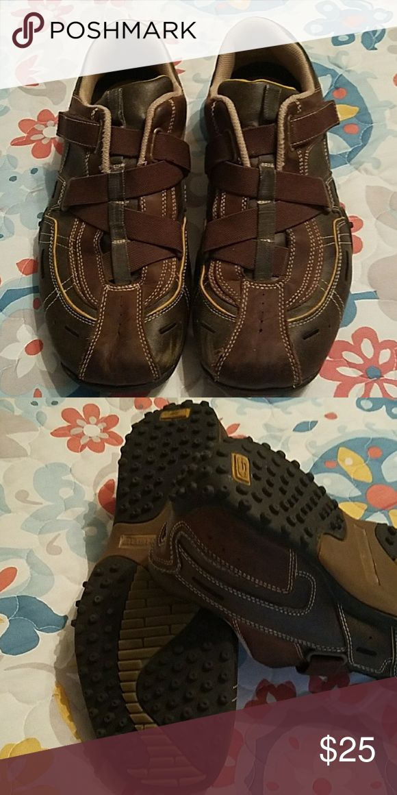 """Brown with Velcro """"laces"""" Skechers.  Mens. Shoes Loafers & Slip-Ons"""