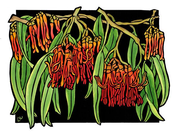 Native Mistletoe Design - Limited Edition Handpainted Linocuts by Lynette Weir