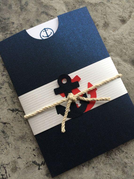 Nautical Wedding Full Pocket Invitation by CarolinaMintBoutique, $3.50