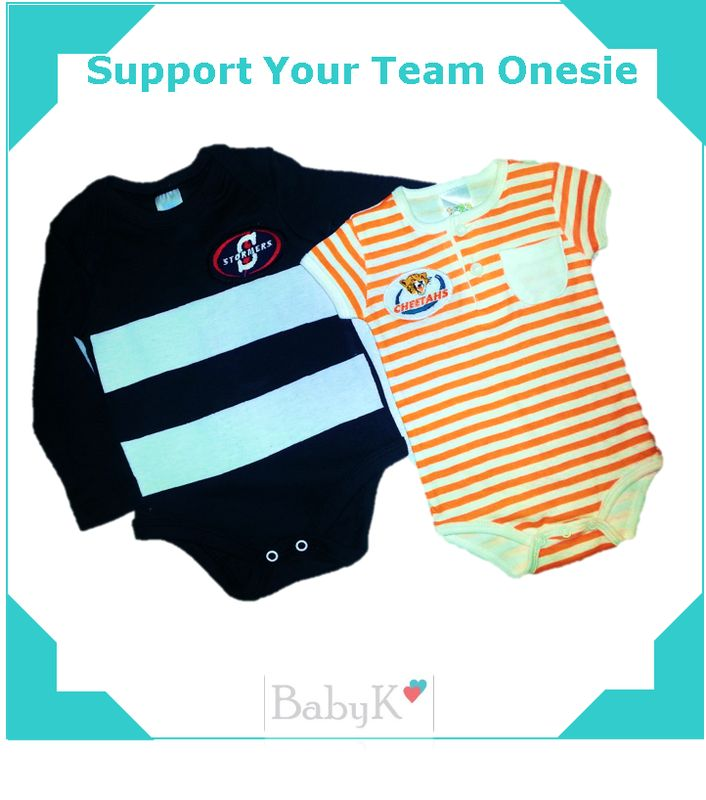 Support your team Onesies from BabyK. For boys and girls!