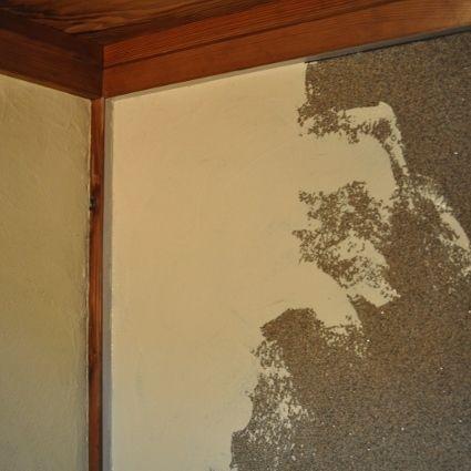 漆喰壁塗り中