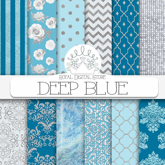 """Blue Digital Paper: """"DEEP BLUE"""" with sea blue and silver backgrounds, silver and blue damask, marble, silver for cards, scrapbooking #summerdigitalkit #blue #damask #glitter #texture #digitalpaper #scrapbookpaper #planner"""