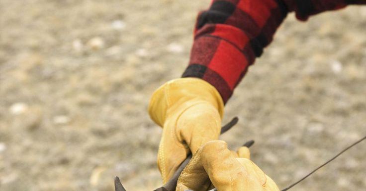 Cómo hacer una cerca de alambre de púas: consejos y trucos. El alambre de púas, aunque algo peligroso, es uno de los tipos más durables de cerca que se puede construir para enjaular animales y separar secciones de tus campos y patios. Hay una gran variedad de consejos y trucos para protegerte a ti mismo mientras construyes una cercas de alambre de púas. Además, hay algunas cosas que pueden ayudar a aliviar ...