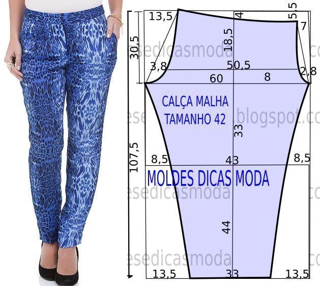 O molde da calça justa fácil não tem valor de costura. Este molde de calça favorece todo o tipo de corpos.: