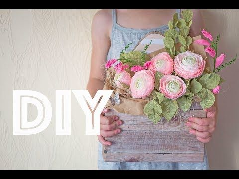 Flowers made of paper in a box / Цветы из бумаги в коробке Tsvoric - YouTube