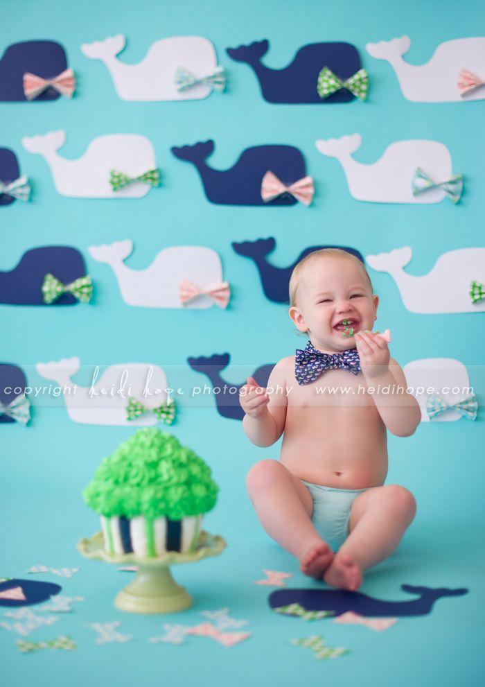 baby first birthday cake smash portrait photographer, preppy cake smash