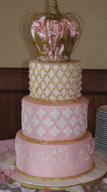 princess cake pink gold white baby shower the art of food