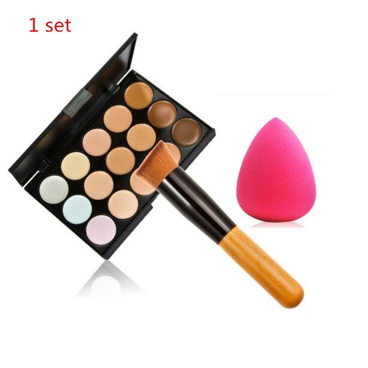 1 zestaw Profesjonalne Kosmetyki 15 Kolory contour Palette Krem Do Twarzy Makijaż concealer Palette Set Narzędzia Proszek + Szczotka Hot Sprzedaży B #