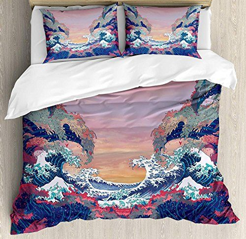 Copripiumino Fantasy.Chasoea Family Comfort Bed Sheet Modern Colorful Fantasy Sea Waves