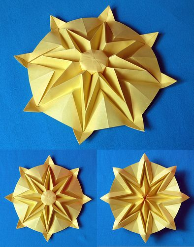 Sole - Sun. Origami from an octagon from a sheet of paper copy, 21 x 21cm…