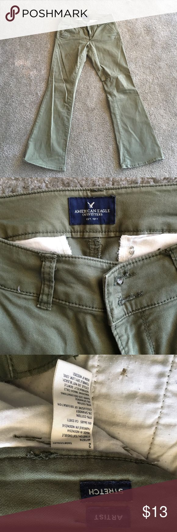Olive green artist pants from American Eagle Olive green artist style pants from American Eagle. Size 2 short. In perfect condition, do not fit anymore. American Eagle Outfitters Pants Trousers