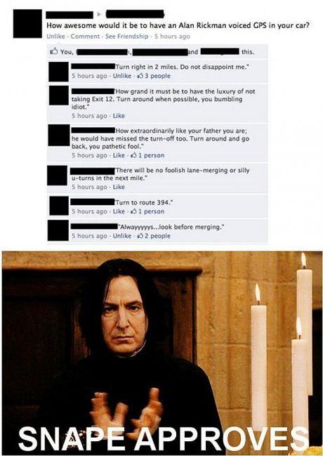 Snape GPS / harry potter humor