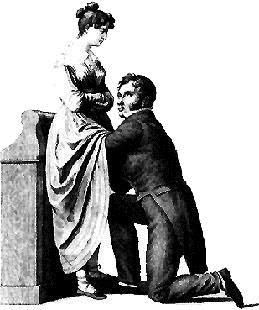 """Classic illustration of a woman's medical exam by a her doctor. Many 19th century medical textbooks used this illustration to show the proper manner to examine a female patient. The physician's eyes are diverted so he will not violate the woman's """"modesty."""" #medical"""