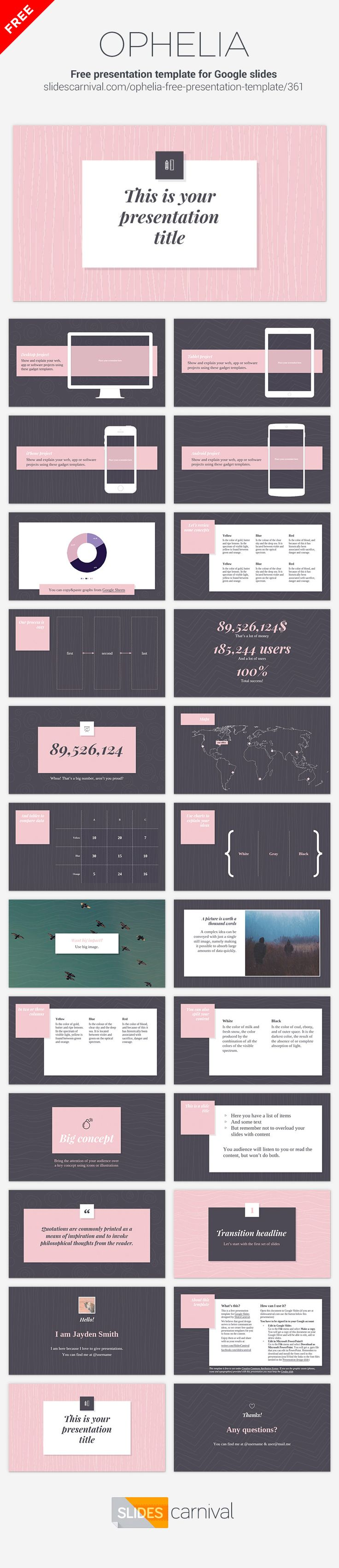 If you need an elegant and stylish design you should choose this free presentation template. With pink as main accent color this design adds a feminine touch to your ideas, but you can easily change the color if you need another mood. This template works great for topics related to fashion or decoration.