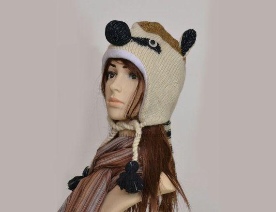 Lemur animal hat   warm hat  knit hat  beanie by HatsMittensEtc