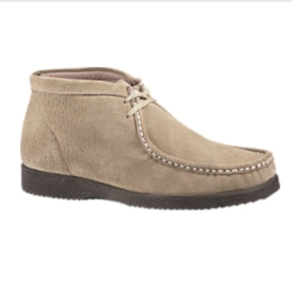 Taupe Bridgeport Hush Puppies Boots Size: 7.5 in men's, this is technically a man's boot but I wear size 7-7.5 in women's and they fit fine. These suede boots are in brand new condition! On the website they are going for $115! Hush Puppies Shoes