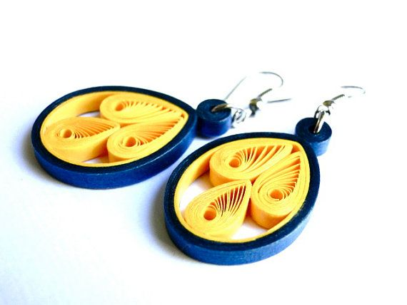 Unique Spring Accessories / Handmade Quilled Paper Earrings / Yellow Jewelry / Simply Quilled