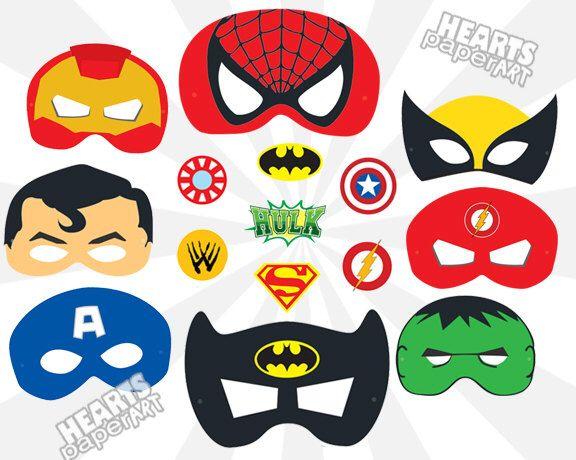 Superhero Masks - Printable- Cutout - Spiderman, Batman, SuperMan, Iron Man, Hulk, Wolverine, Captian America by HeartsPaperArt on Etsy https://www.etsy.com/listing/246397665/superhero-masks-printable-cutout