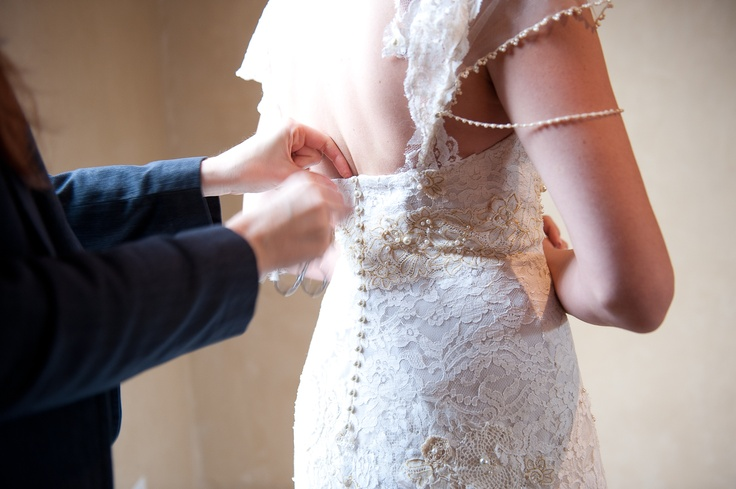 Vintage Chantilly lace and crochet eco-friendly wedding gown.  Photo by Mario Photo #EcoBride