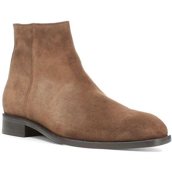 Donald J Pliner Men's Vinicio-83 Suede Ankle Boots ($300) ❤ liked on Polyvore featuring men's fashion, men's shoes, men's boots, espresso, mens round toe cowboy boots, mens suede shoes, mens short boots, mens zipper boots and mens zip ankle boots