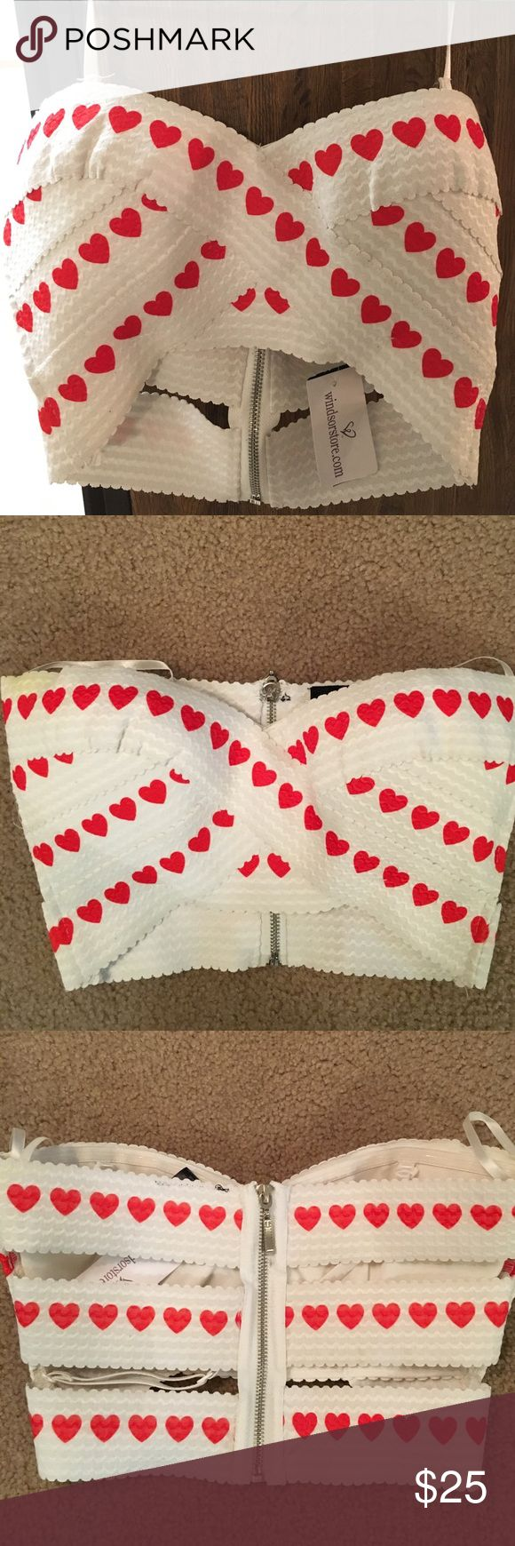 Heart tube top White crop tube top with red hearts. Can be worn as a halter top. Zipper in the back. WINDSOR Tops Crop Tops