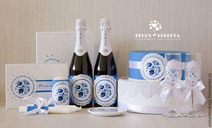 """Купить Комплект свадебных аксессуаров """"Гжель"""" - синий, бело-синий, гжель, тематическая свадьба, свадьба"""